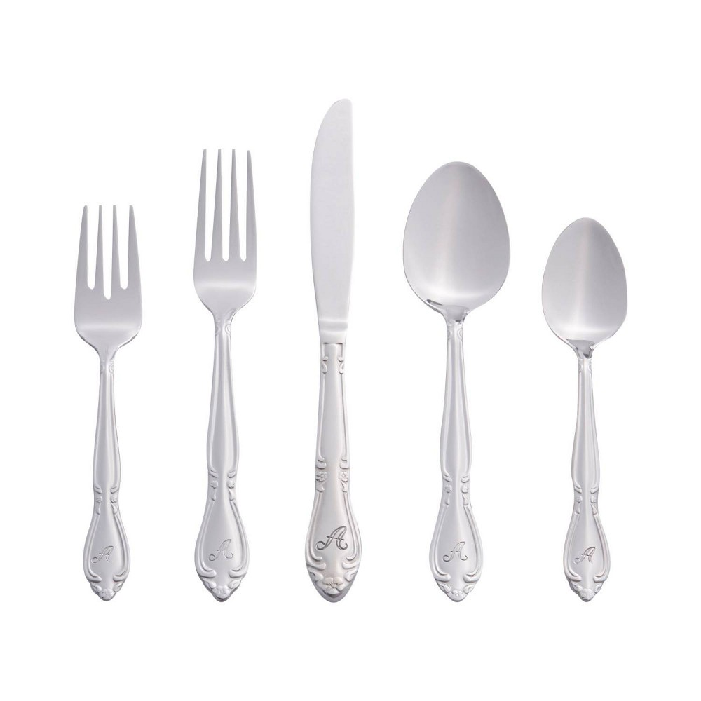 RiverRidge 46pc Personalized Rose Pattern Silverware Set A from RiverRidge Home