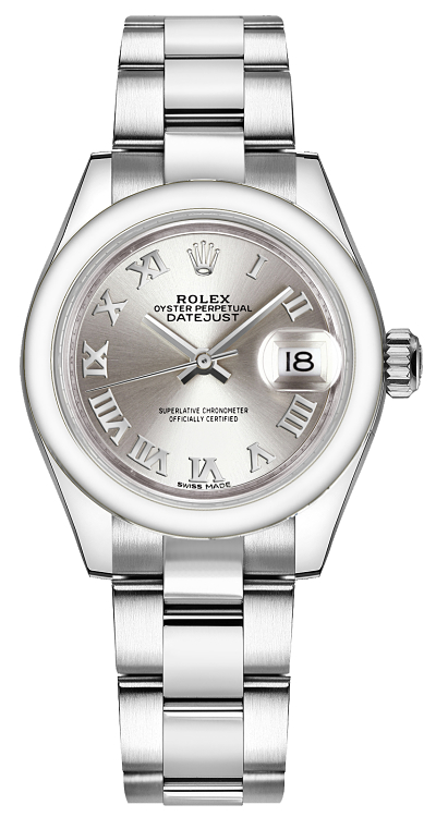 Rolex Lady-Datejust 28 Silver Roman Numeral Oyster Bracelet Watch 279160