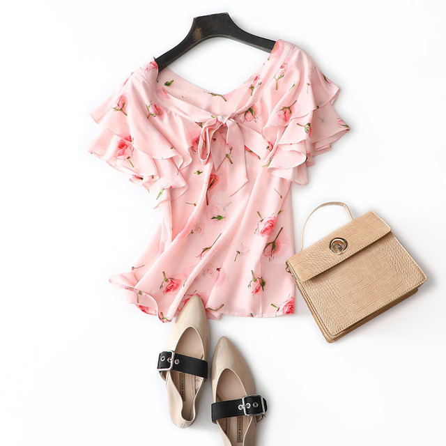Romantic Fairy Double Lotus Leaf V-neck Pink Girl Pink Shirt