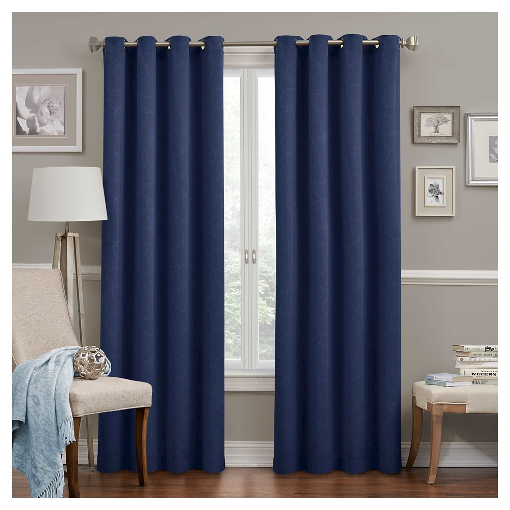 "95""x52"" Round & Round Thermawave Blackout Curtain Panel Navy - Eclipse"