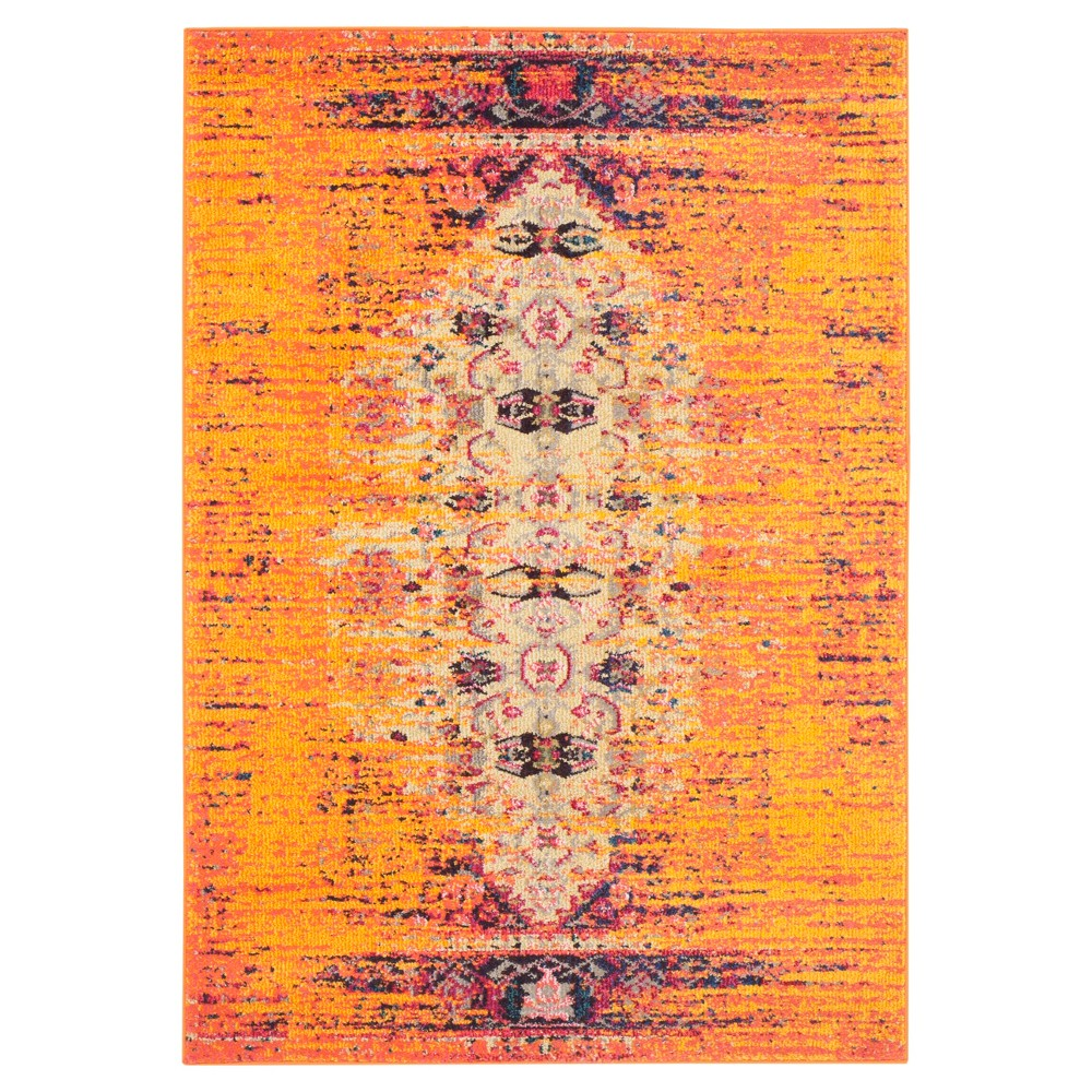 4'X5'7 Burst Area Rug Orange - Safavieh