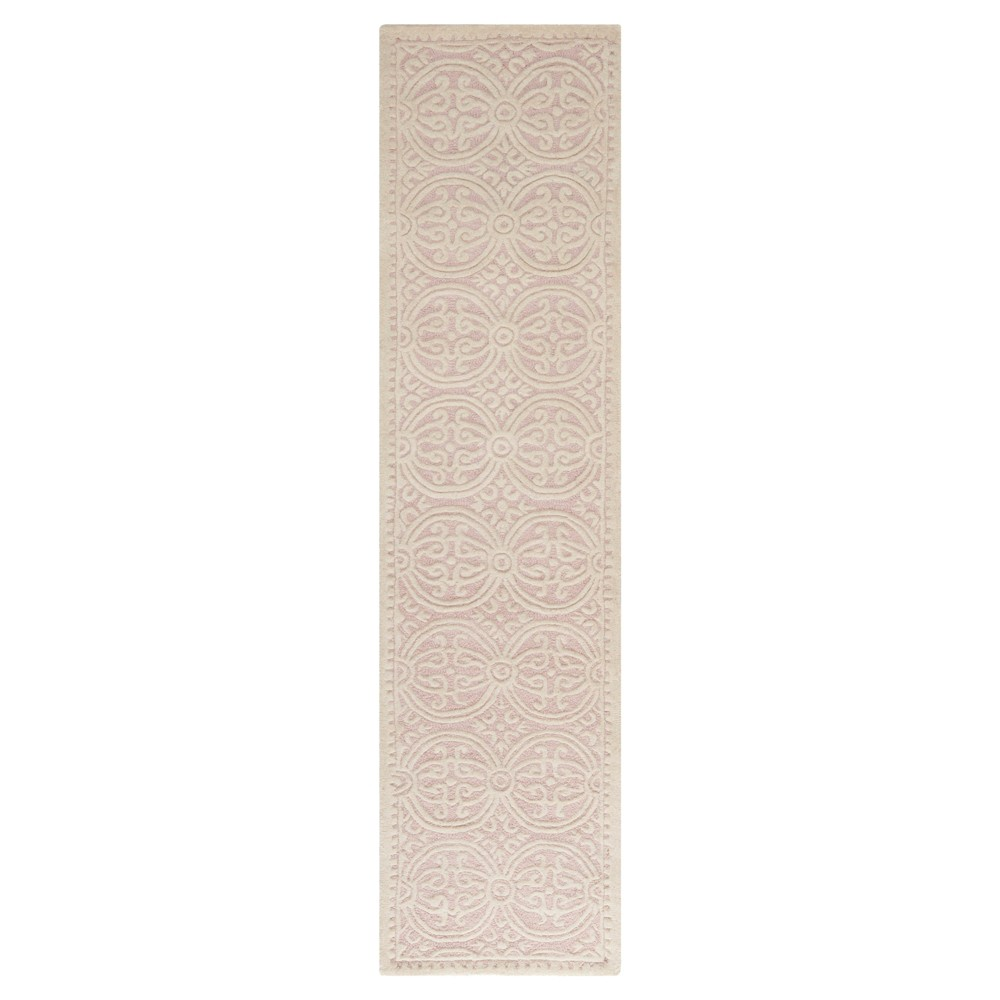 "Pink/Ivory Geometric Tufted Runner 2'6""X6' - Safavieh"