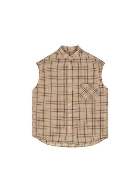 Salt Can Be Sweet Mother Man Wind! Casual Yup Plaid Sleeveless Shirt