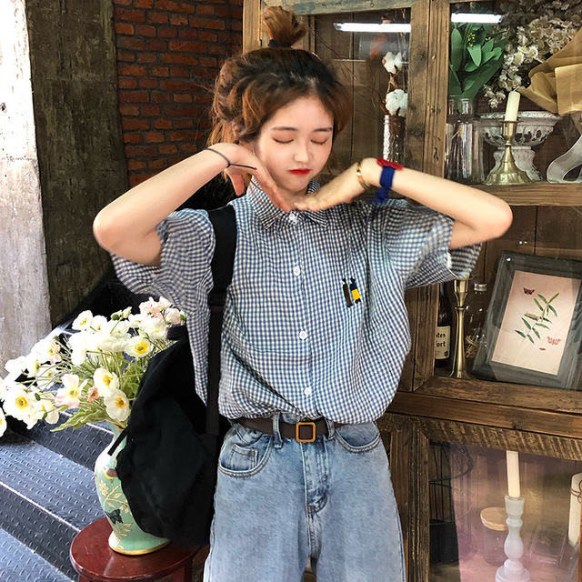 Season Casual Japanese Small People Embroidered Plaid Short Sleeve Lapel Shirt