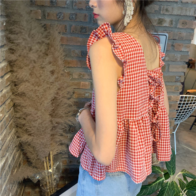 Season Sweet And Lovely Back Strap Plaid Doll Vest Top