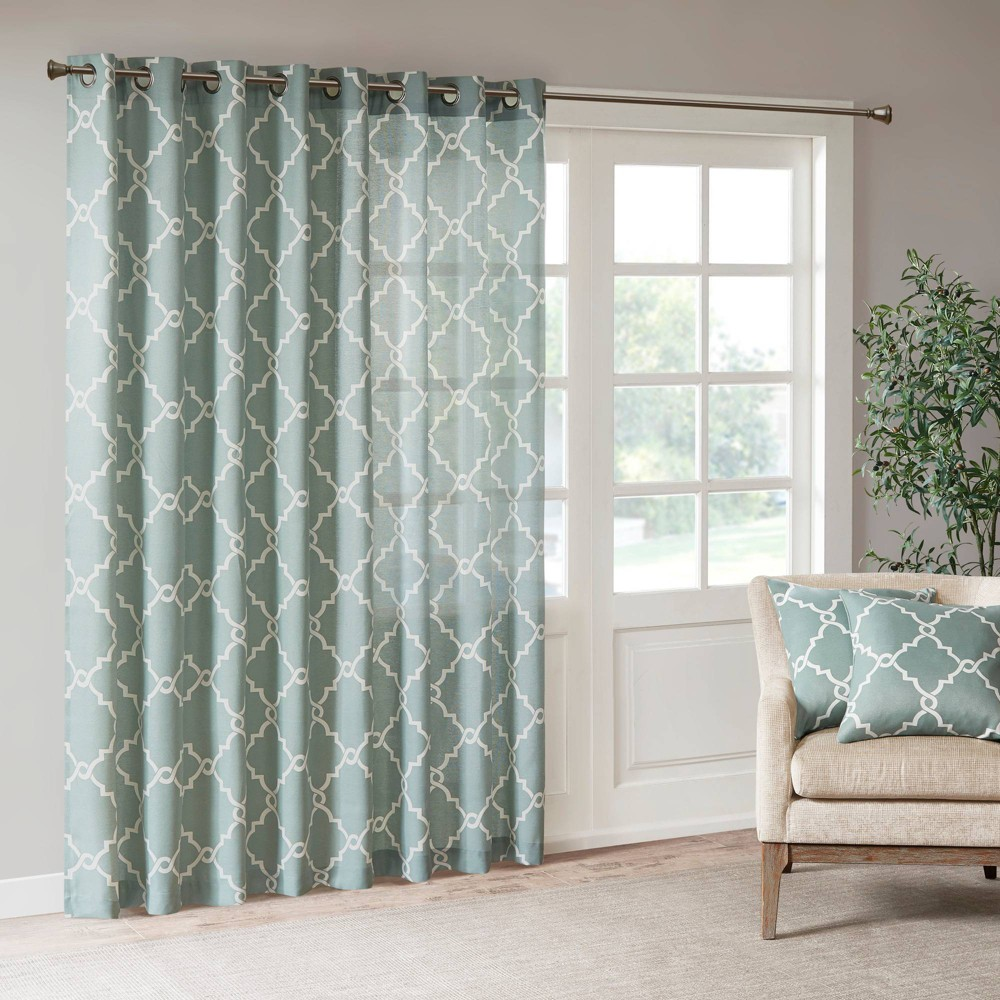 "100""x84"" Sereno Fretwork Print Blackout Curtain Panel Seafoam, Adult Unisex, Size: 100x84"""