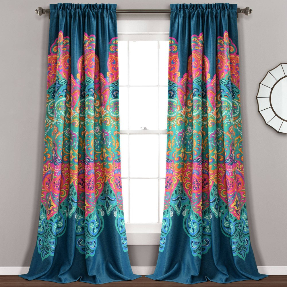 "Set of 2 84""x52"" Boho Chic Room Darkening Window Curtain Panels Turquoise/Navy - Lush Décor"