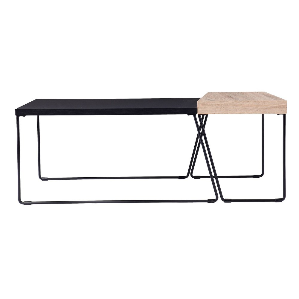 Set of 2 Bexearl Cocktail Tables Black/Natural - Aiden Lane from Aiden Lane