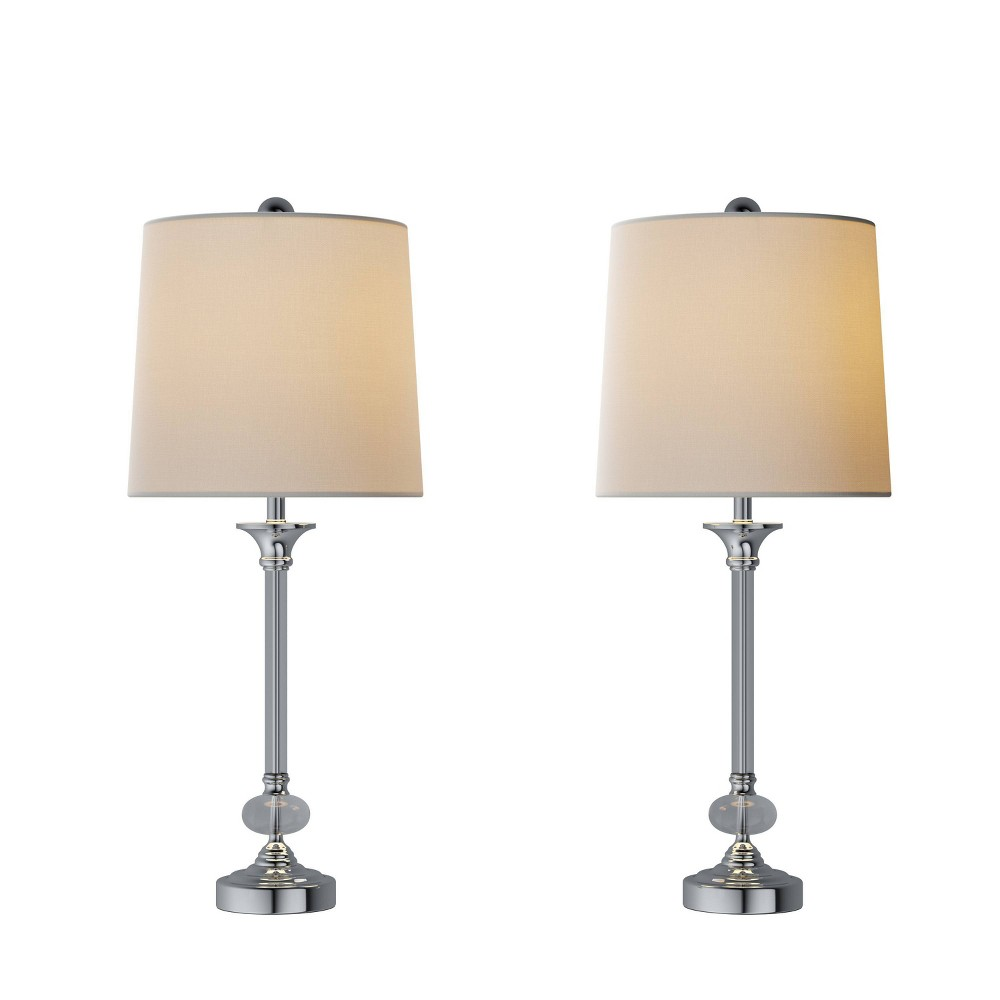 Crystal Lamps-Set of 2 Faceted Silver Lighting (Includes LED Light Bulb) from Trademark Global
