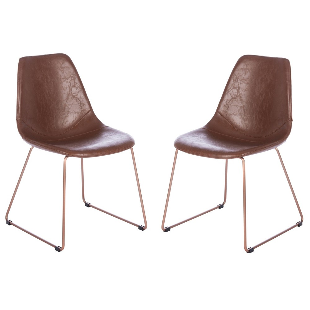 Set of 2 Dorian Mid-Century Modern Leather Dining Chairs Light Brown/Brass - Safavieh from Safavieh