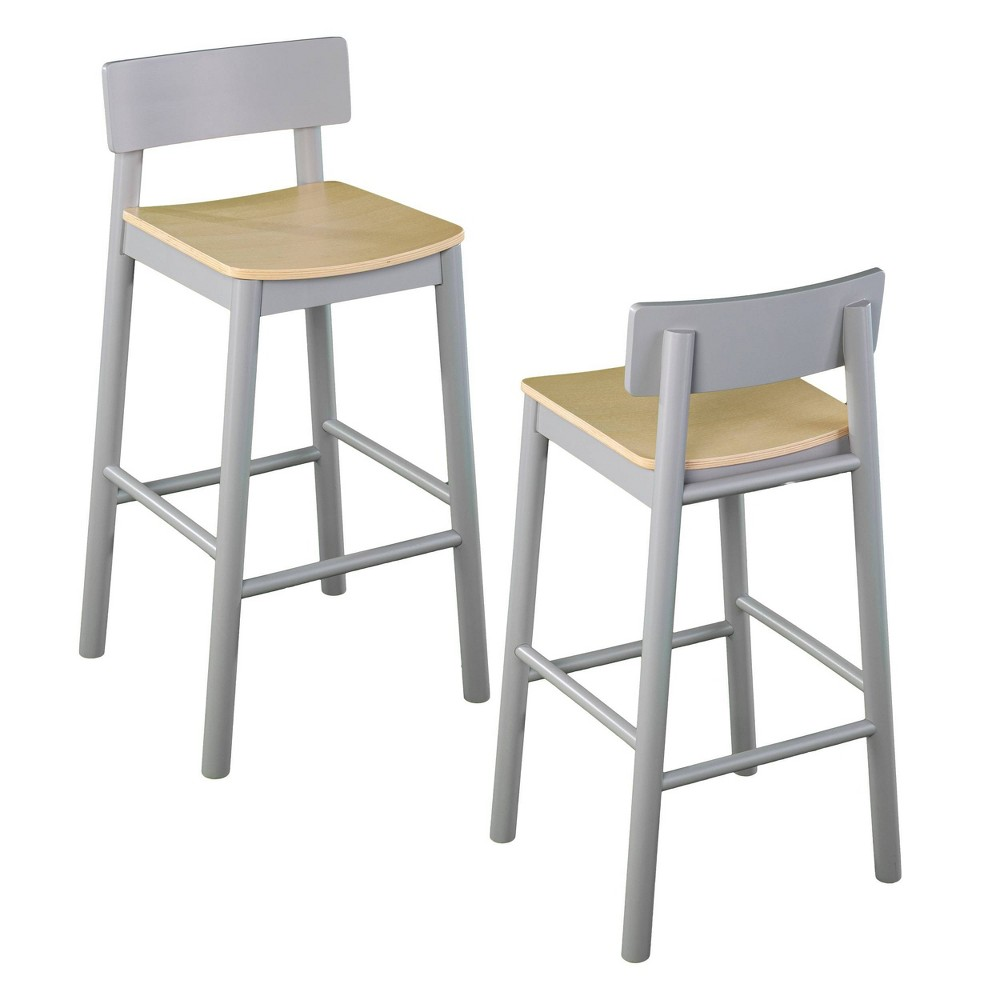 "Set of 2 Poyor 37.5"" Two-Tone Counter Height Barstools Gray/Natural - Aiden Lane from Aiden Lane"
