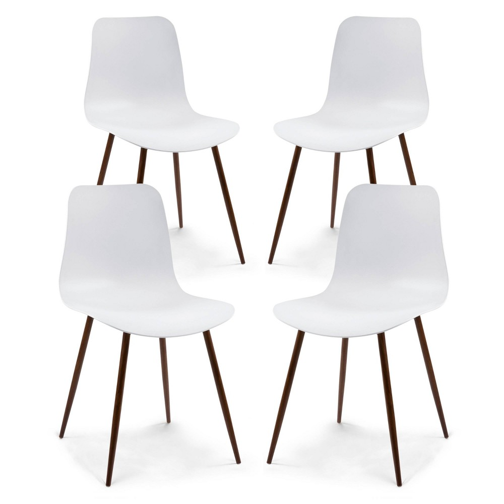 Set of 4 Thomas Dining Chairs White - Poly & Bark