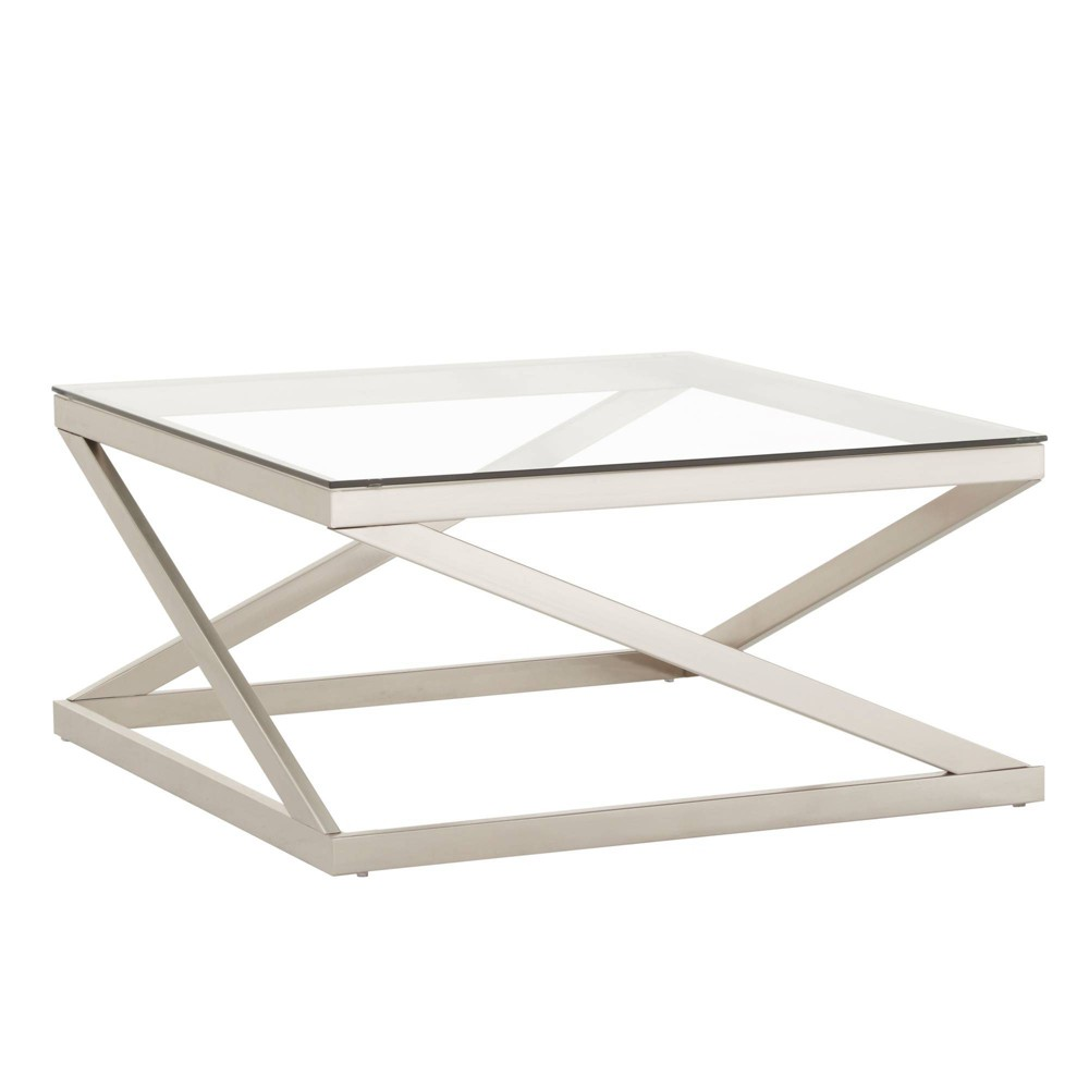 Severin Glass Top with Brushed Nickel Coffee Table Silver - Inspire Q from Inspire Q