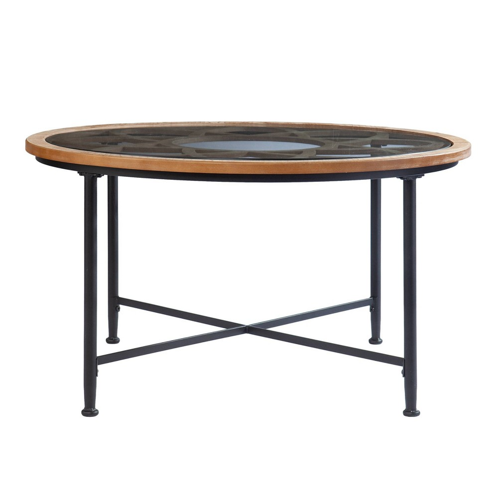 Shabra Glass Top Cocktail Table Black/Natural - Aiden Lane from Aiden Lane