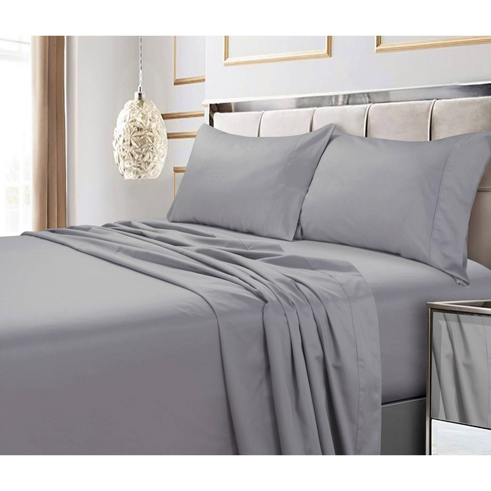 California King 4pc 600 Thread Count Deep Pocket Solid Sheet Set Silver Gray - Tribeca Living from Tribeca Living