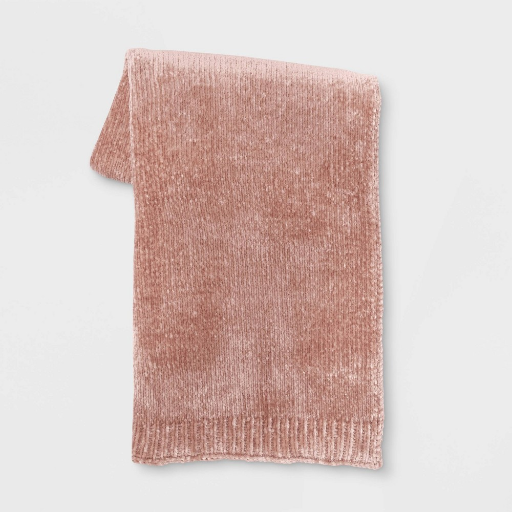 "50""x60"" Shiny Chenille Throw Blanket Blush - Project 62 from Project 62"