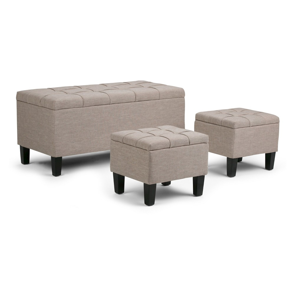 "3pc 44"" Lancaster Storage Ottoman Natural Linen Look Fabric - WyndenHall from WyndenHall"