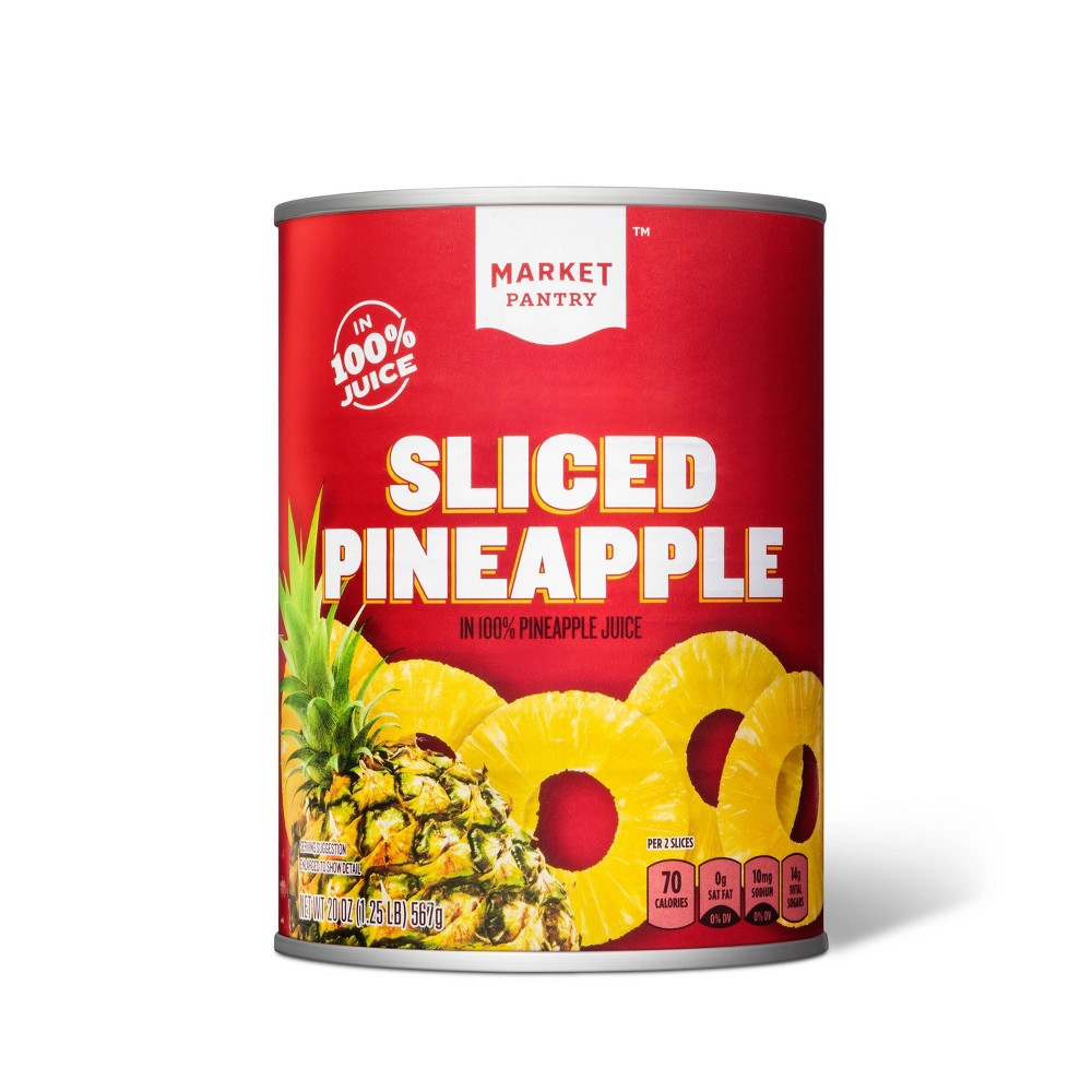Sliced Pineapple in 100% Juice 20oz - Market Pantry from Market Pantry