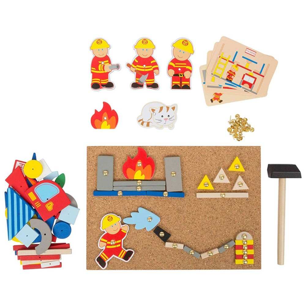 Small Foot Wooden Toys Hammer Arts And Crafts Fireman Playset