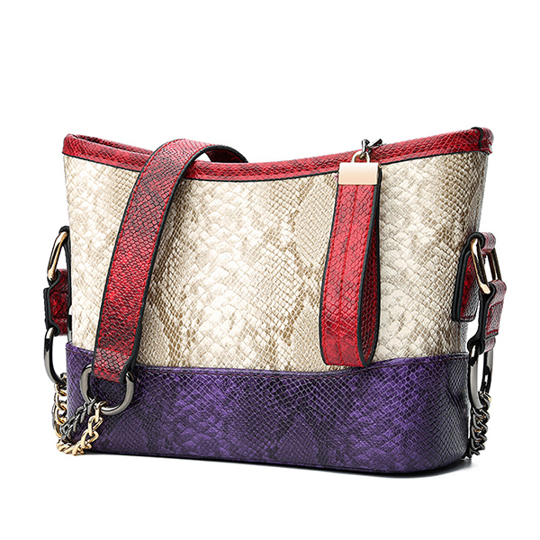 Snake Pattern Faux Leather Crossbody Bag For Women