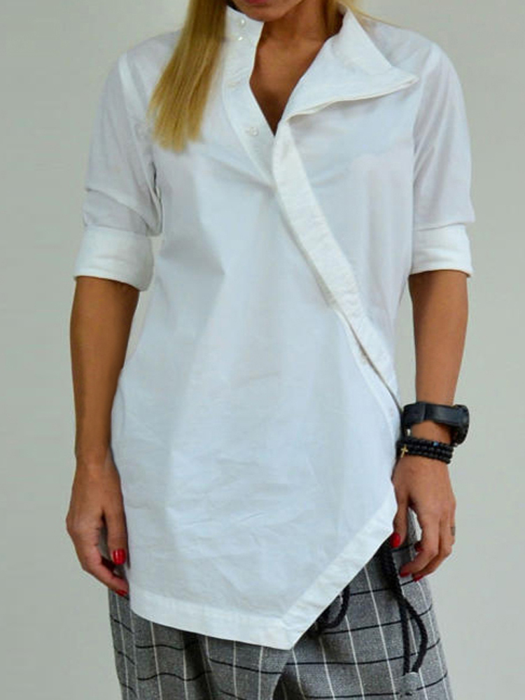 Solid Color Asymmetrical Button Casual Blouse