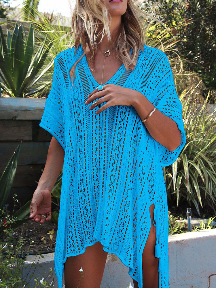 Solid Color Knitting Hollow Loose Beach Blouse