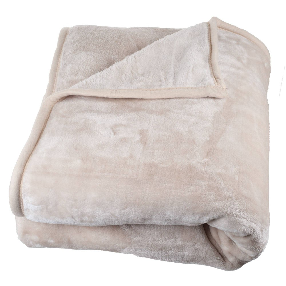 Solid Soft Heavy and Thick Plush Mink Throw Blanket Beige - Trademark Global from Trademark Global