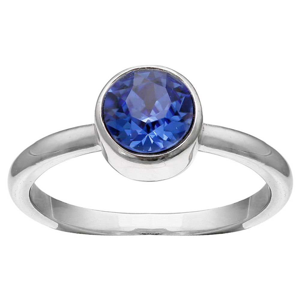 Solitaire Ring with Crystals from Swarovski in Fine Silver Plate - Blue/Gray (Size 8) from Distributed by Target