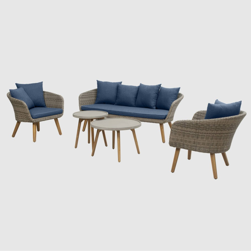 Sota 5pc Outdoor Seating Set - Dark Blue - RST Brands from RST Brands