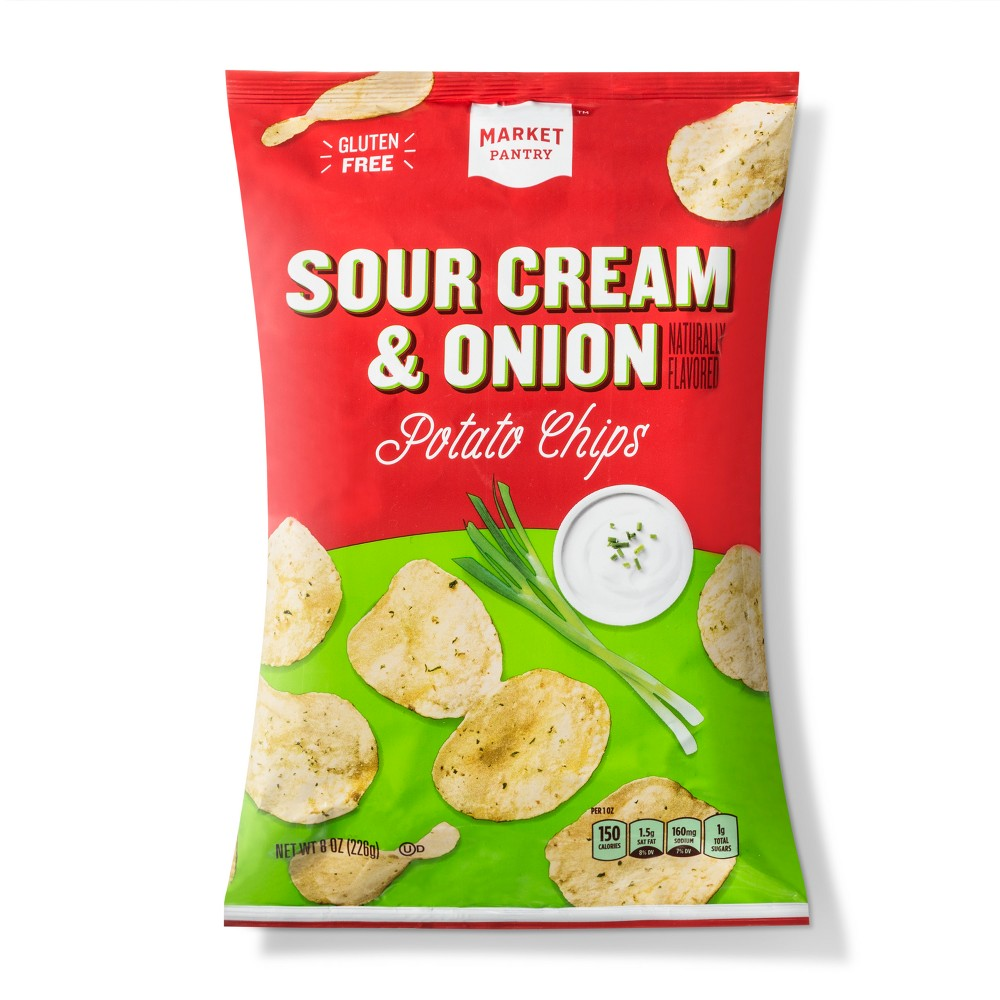 Sour Cream & Onion Flavored Potato Chips - 8oz - Market Pantry from Market Pantry