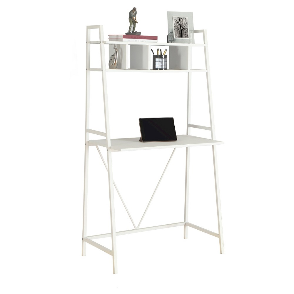 Space Saving White Top Computer Desk - White Metal - EveryRoom from EveryRoom