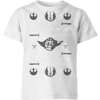 Star Wars Yoda Sabre Knit Kids' Christmas T-Shirt - White - 5-6 Years - White from Star Wars