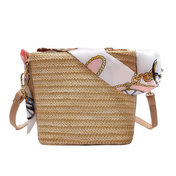 Straw Scarf Bucket Bag Crossbody Bag For Women