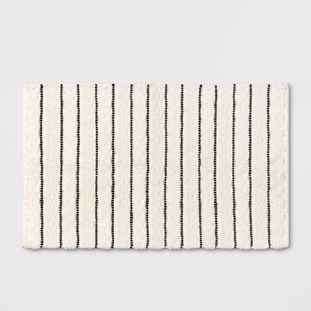 Striped Bath Rug White/Black - Opalhouse from Opalhouse