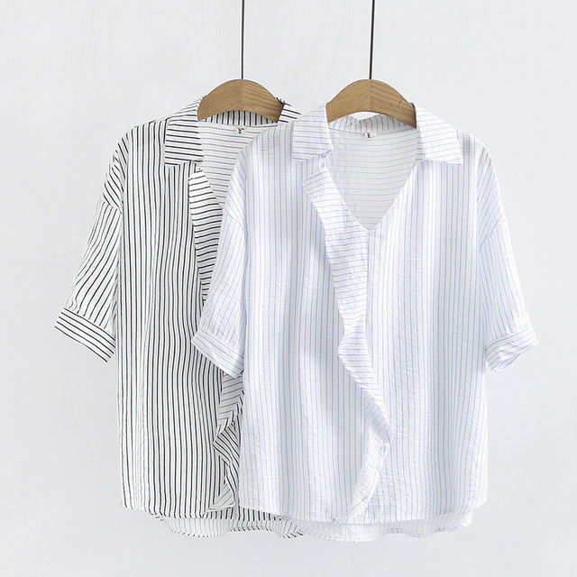 Striped Turn-down Collar  Loose Casual short Sleeve Shirt
