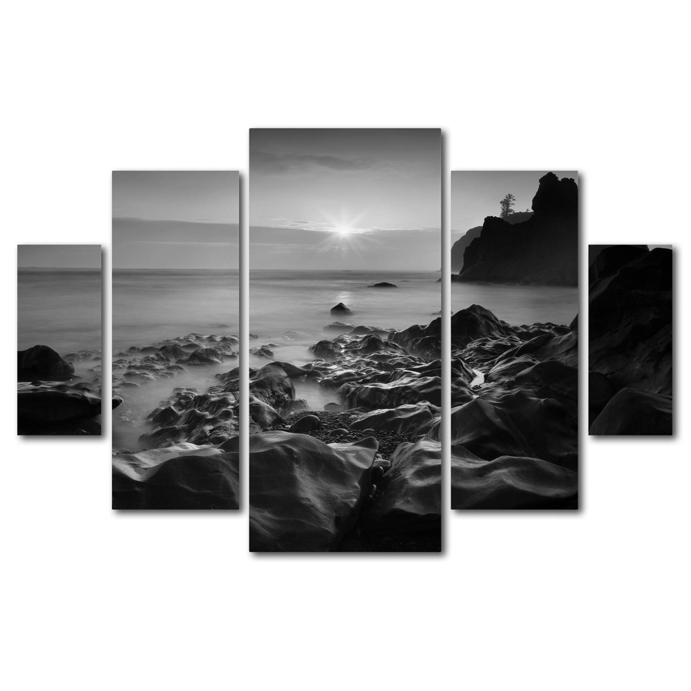 5pc Sunset At Ruby Beach by Moises Levy - Trademark Fine Art from Trademark Global
