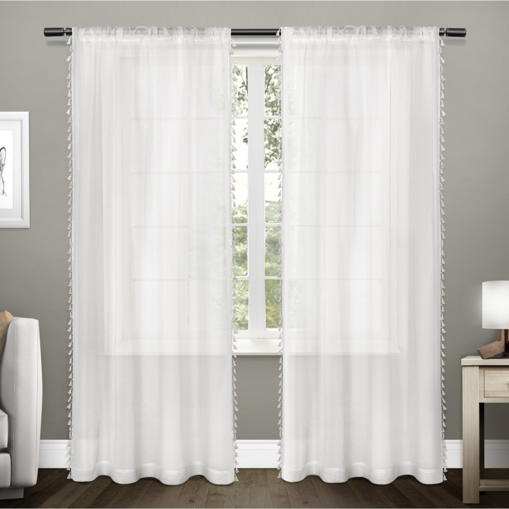 "Set of 2 84""x54"" Tassels Textured Bordered Tassel Applique Rod Pocket Sheer Window Curtain Panel White - Exclusive Home"