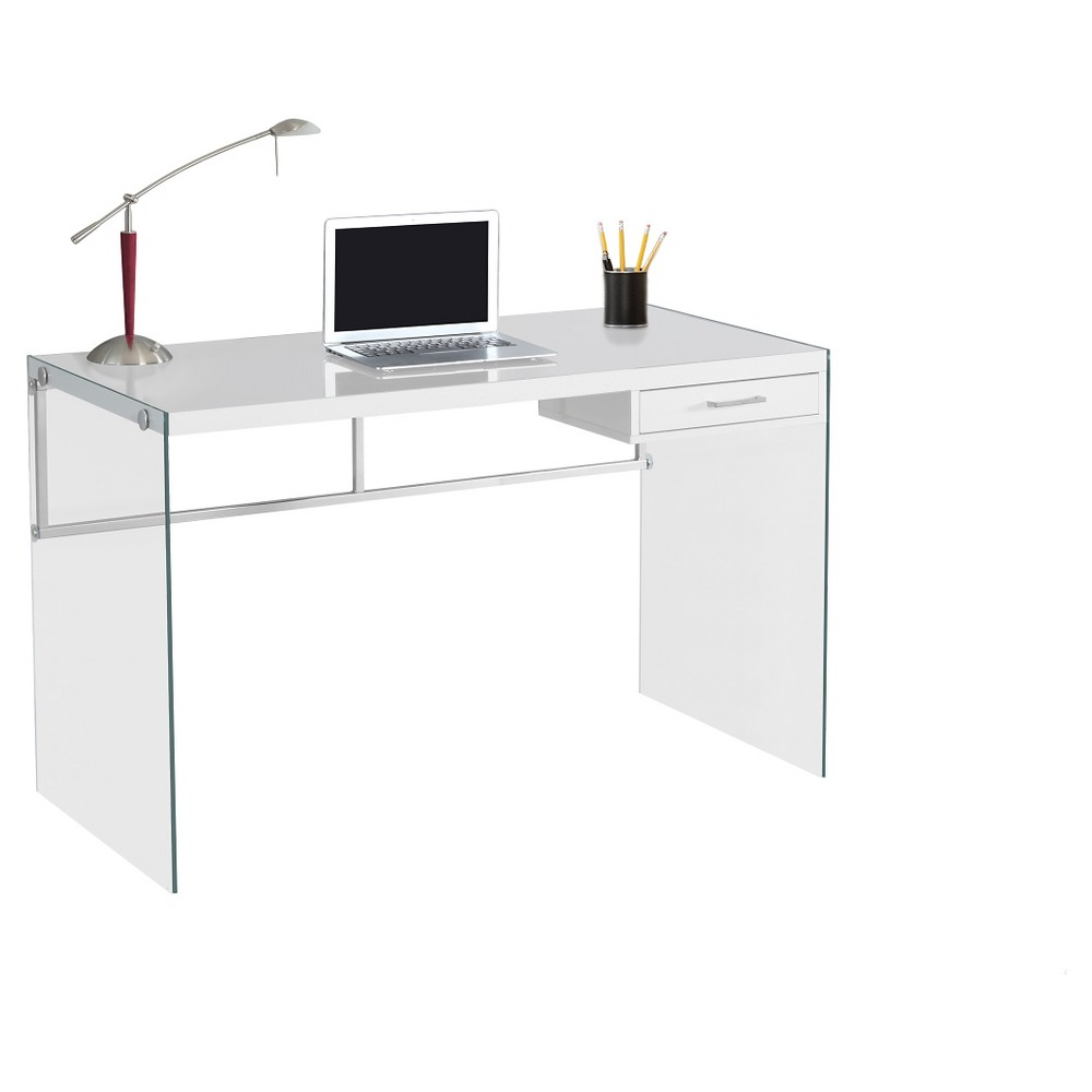 Tempered Glass Computer Desk - Glossy White - EveryRoom from EveryRoom