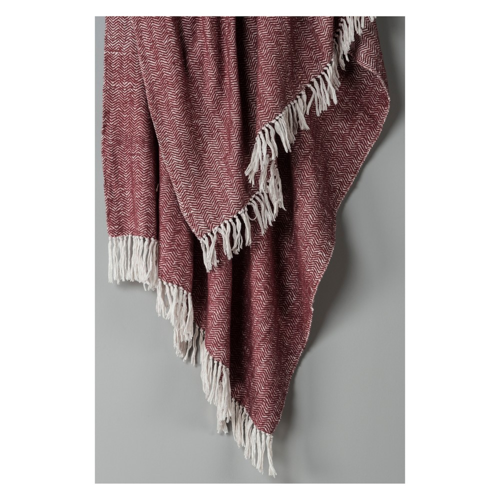 "50""x60"" Herringbone Throw Blanket Raisin - Rizzy Home from Rizzy Home"