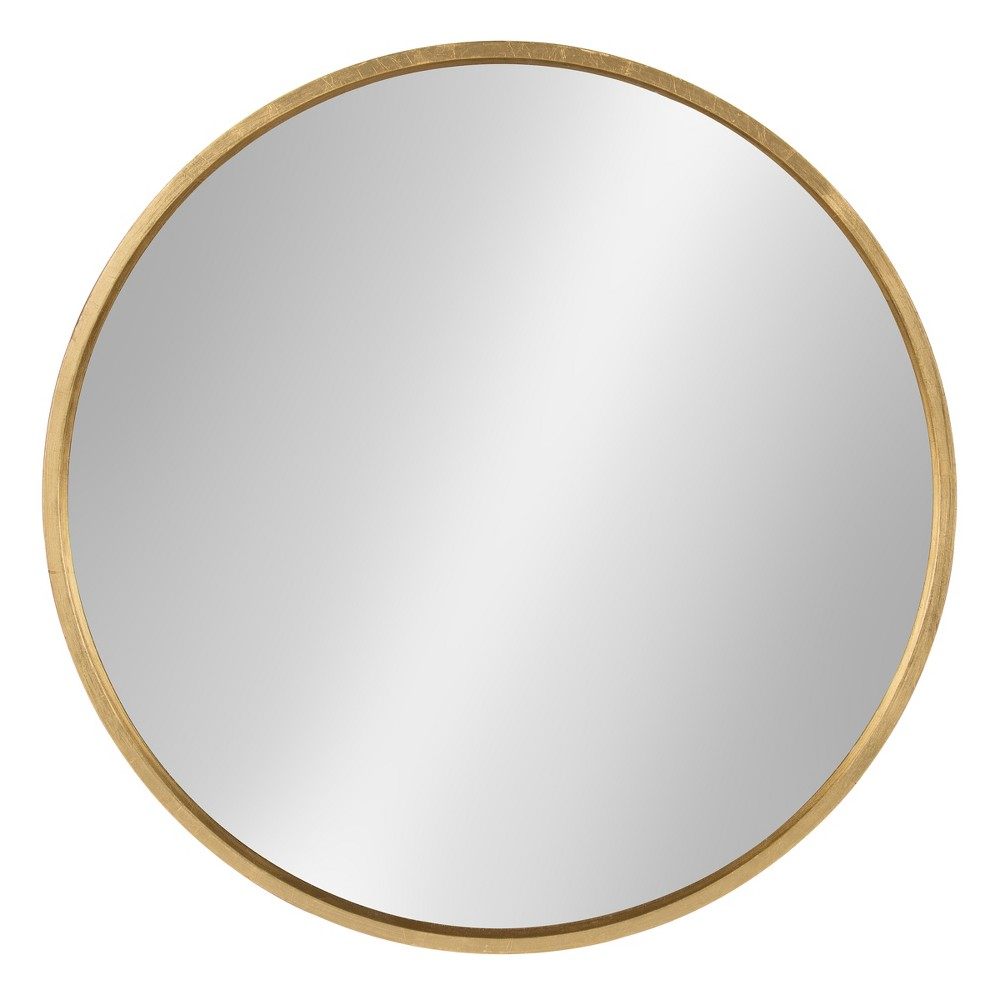 "26"" x 26"" Travis Round Wood Accent Wall Mirror Gold - Kate and Laurel from Kate & Laurel All Things Decor"