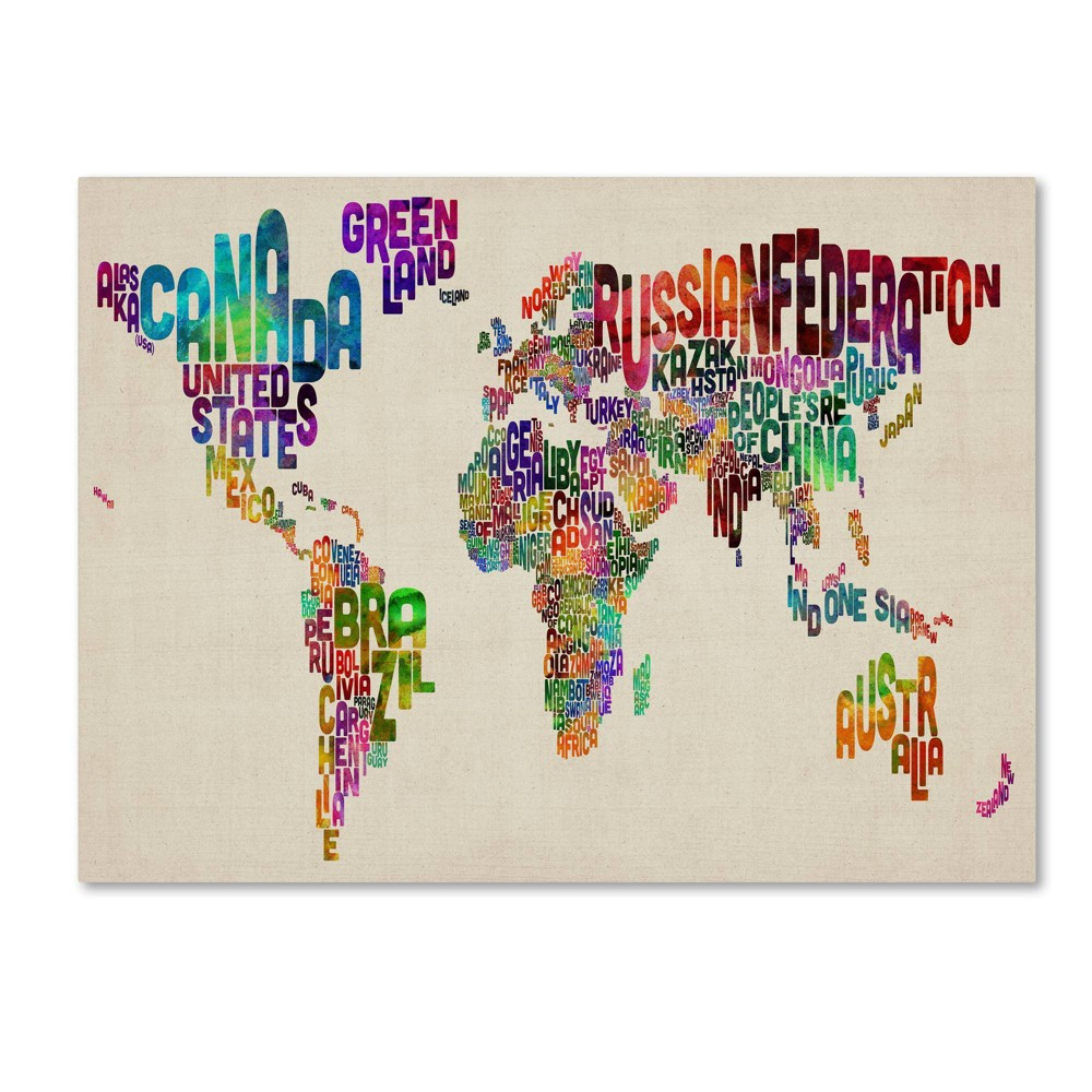 "22"" x 32"" Typography World Map II by Michael Tompsett - Trademark Fine Art from Trademark Global"