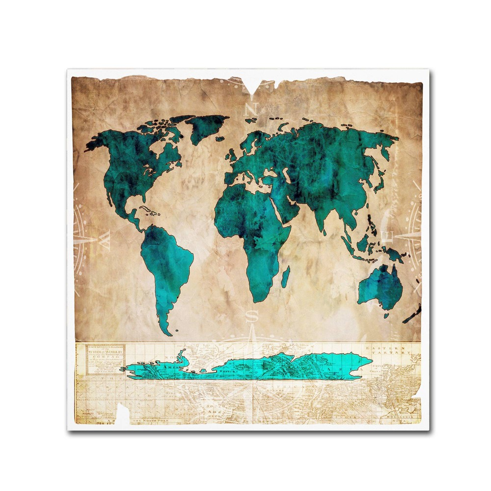 Sea Map I' by Lightbox Journal Ready to Hang Canvas Wall Art - Blue