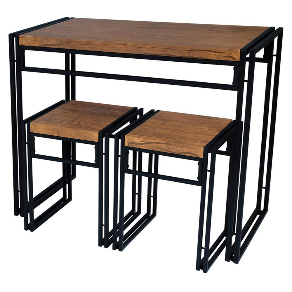 Urban Small Extendable Dining Table Set - Black with Brown Wood - Atlantic from Atlantic