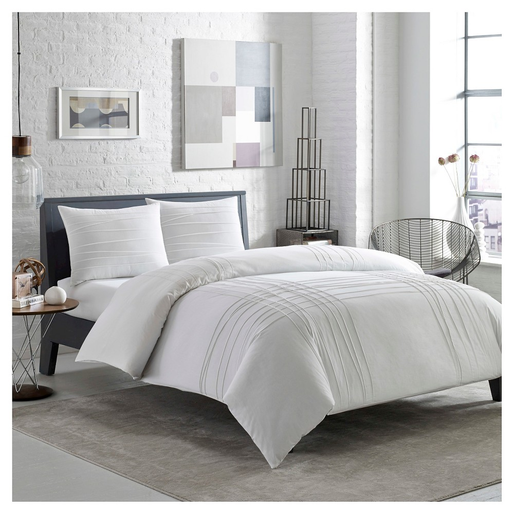 Variegated Pleats Duvet Cover Set Twin - White - City Scene