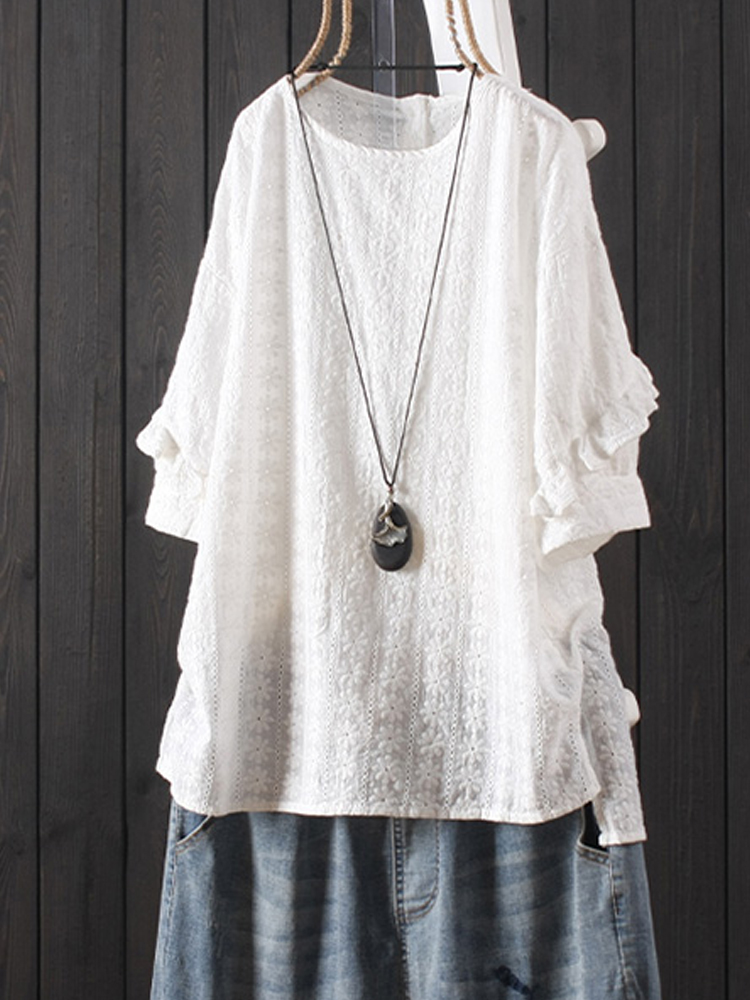 Vintage Embroideried Lace White Short Sleeve Blouse