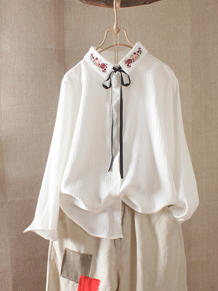 Vintage Embroidery Drawstring Button Casual Blouse