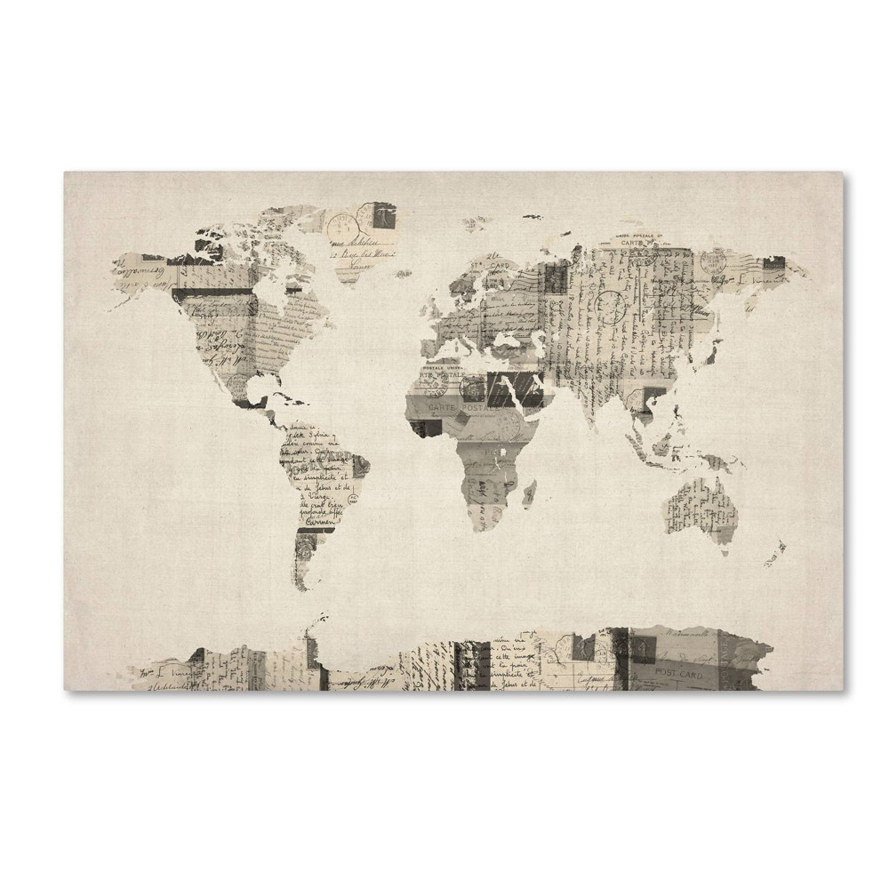 "22"" x 32"" Vintage Postcards World Map by Michael Tompsett - Trademark Fine Art from Trademark Global"