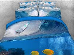 Vivilinen Tropical Fish with Rolling Ocean Waves Printed Cotton 3D 4-Piece Bedding Sets