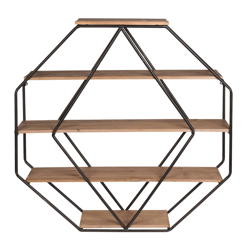 Wall Shelf Octagon Shaped - Walnut/Black from Kate & Laurel All Things Decor