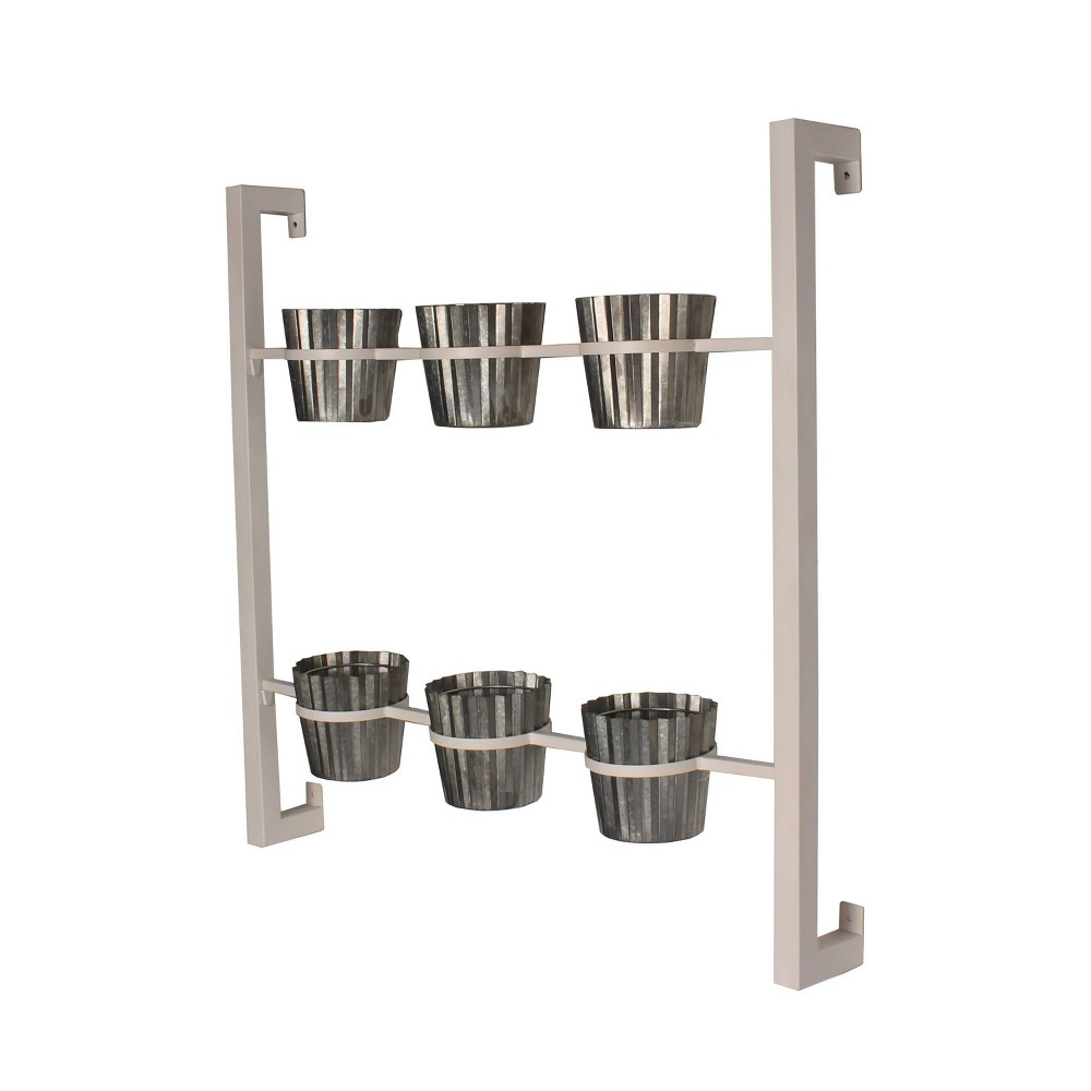 Wall Shelf with Planters - White from Kate & Laurel All Things Decor